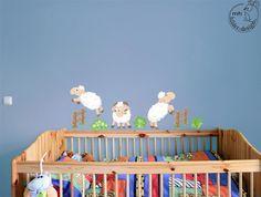 Wall Decal Jumping sheep nursery baby  children's room door MHBilder, €24.90