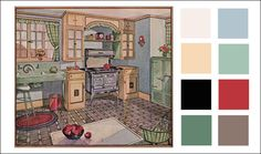 Vintage Kitchen Color Scheme - 1920s - 1928 Blue, Corn Silk, & Jadite Green - Antique Home & Style