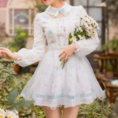 White Kawaii Spring Sweet Lolita Lace Dress SP178965