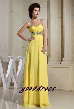 Custom Handmade Yellow Sweetheart Crystal Beaded by gooddress, $125.99