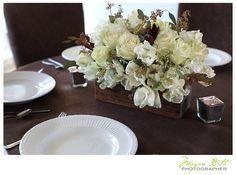 hydrangeas, tulips, seeded eucalyptus wood box centerpiece