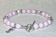 Mother's Day Bracelet~ Pastel Pink Swarovski Pearls and Crystals~ Mom Charm~ Heart Toggle Clasp
