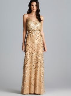 Adrianna Papell Cross Back Long Sequined Blouson Dress - Overstock™ Shopping - Top Rated Adrianna Papell Evening & Formal Dresses