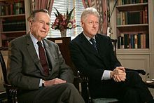 """William Jefferson """"Bill"""" Clinton (born William Jefferson Blythe III; August 19, 1946) is an American politician who served as the 42nd President of the United States from 1993 to 2001. Pictured with George H.W. Bush 41st #President of the United States #PresidentsOfUSA"""