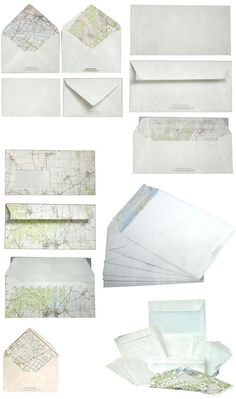 recycled map envelopes.. my sister-in-law used these for her nautical themed wedding invitations.. very cool