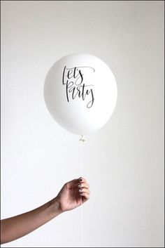 Calligraphy Let's Party White And Black Balloons