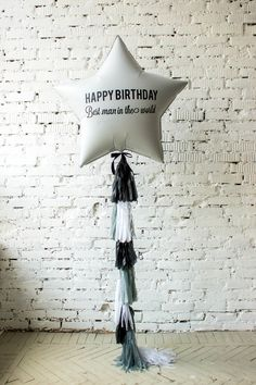 White-foil-star-balloons-with-tassel-garland-happy-birthday-adult-ideas