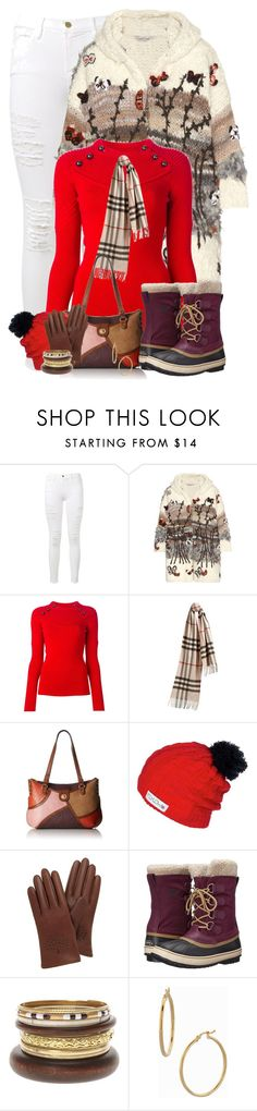 """""""Sorel Boots & White Jeans"""" by majezy ❤ liked on Polyvore featuring Frame Denim, Valentino, Isabel Marant, Burberry, Relic, Mulberry, SOREL, Bony Levy, women's clothing and women's fashion"""