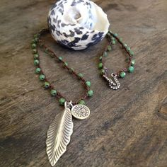 """Silver Leaf Pendant, Turquoise Crochet Necklace """"Boho Chic"""" Bohemian Jewelry"""