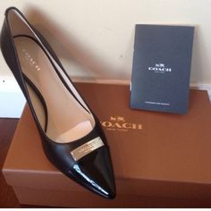 """Coach shoes black Brand new pair of Coach heels . Leather/patent . Coach logo in silvertone. 3.35"""" heel . Comes with box and Coach authenticity booklet . Coach Shoes"""