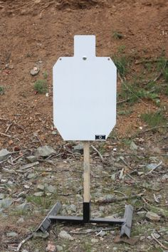 """Rogue Shooting Targets - 3/8"""" AR500 Steel IDPA  Silhouette (18"""" x 30"""") on Tension Stand.  http://www.rogueshootingtargets.com/3/8-ar-500-steel-idpa-silhouette-18-x-30-target/"""