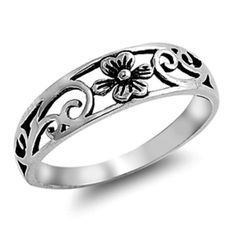Sterling Silver ring size 10 Celtic Rose Heart Flower Daisy Knuckle Midi New p61 #Unbranded #Band