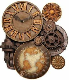 Steampunk Industrial Rusty Gears of Time Sculptural Wall Clock OLD WORLD