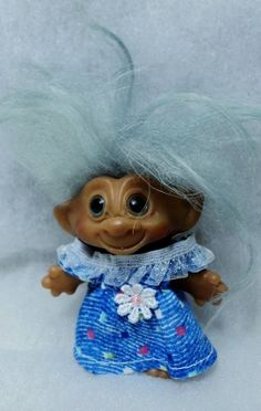 "SALE - Vintage Uneeda Wishnik Troll Doll - 2 and 1/2"" - So Cute with custom made dress"