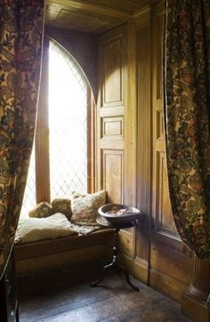 Cozy reading nook in Heathfield Castle, Ireland.