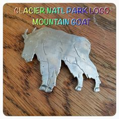 ⭐️️VINTAGE!⭐️BROOCH Glacier national park logo mountain goat pin. Made for Glacier National Park in Alaska. Rare and no longer in circulation! Circa '50's! Maybe Sterling, maybe nickel plated brass. Will test. Robbins Co Attleboro MA Jewelry