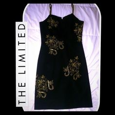 Black Midi Dress W/Gold Detail Beautiful black dress with shiny gold beading detail. Simple yet elegant. Size medium The Limited Dresses Midi