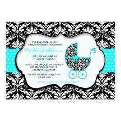 Chic Teal Polka Dot Damask Baby Shower Invite
