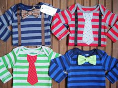 4 Pack Striped Bow Tie & Necktie Onesies, Twin Gift Set, Twin Onesies, Newborn Twin Onesies, Baby Gift Set, Baby Suspenders, Bow Tie Onesie. $52.00, via Etsy.