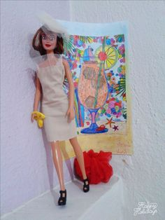 diy barbie fabric dress with details of veiling and hat...chic outfit  ~sewing pattern~