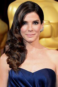 Sandra Bullock -HarpersBAZAAR.com. Love the dimensional chocolate highlights.