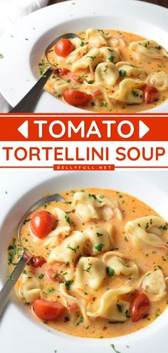 Need to satisfy your comfort food craving fast? This easy Tomato Tortellini Soup can be ready in just 15 minutes from start to finish! While made with simple, common, affordable ingredients, it comes… Easy Delicious Recipes, Easy Soup Recipes, Simple Recipes, Dinner Recipes, Yummy Food, Slow Cooker Soup, Slow Cooker Recipes, Tomato Tortellini Soup, Quick And Easy Soup