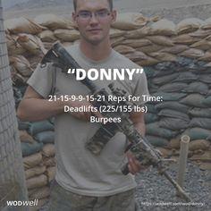 """Donny"" WOD - 21-15-9-9-15-21 Reps For Time: Deadlifts (225/155 lbs); Burpees"