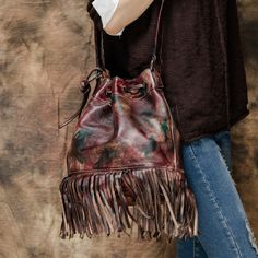 2017 Women Genuine Leather  Tassel Fringed Messenger Barrel Boho Hippie Gypsy Vintage Bohemian Feminine Crossbody Shoulder Bag