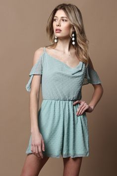 53be86b4d944 Oh My Love Cold Shoulder French Dot Playsuit - Mint – Calico