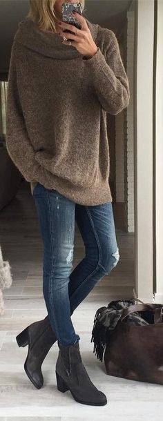 #outfits #fall #fashion Dark Grey Oversized Sweater // Ripped Jeans // Grey Booties