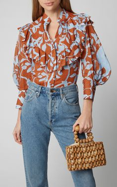 Johanna Ortiz Immaculate Presence Printed Ruffled Crepe De Chine Blouse Source by modaoperandi blouses 2019 Star Fashion, Look Fashion, Girl Fashion, Fashion Outfits, Fashion Design, Cute Blouses, Blouses For Women, Blouse Styles, Blouse Designs