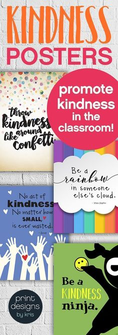 Promote kindness in the school classroom with these fun and unique kindness posters. Hang them in your classroom or the school hallway to remind students every day about the importance of kindness and how you treat others. Click the link to check them out School Social Work, Middle School Classroom, Future Classroom, School Office, Classroom Organization, Classroom Management, Classroom Decor, School Hallway Decorations, Classroom Displays