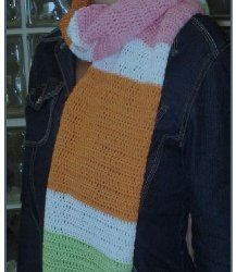 Colorful Block Scarf. Easy project.