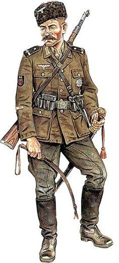 WEHRMACHT - Sottufficiale Del 1° Reggimento Cosacchi del Don, Petrjnia, Croazia, 1944 - pin by Paolo Marzioli