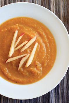 Butternut squash apple soup. Delicious autumn flavors blended together make this vegan soup a crowd-pleasing appetizer.