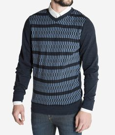 Would you wear this? A graphic, plaid pattern, inspired by Mid Century Modern Scandinavian design and archituecture. Beautifully crafted by @WeNorwegians  Shop it at mallofnorway.com/ Plaid Pattern, Scandinavian Design, Men Sweater, V Neck, Dandy, Sweaters, How To Wear, Mid Century, Shopping