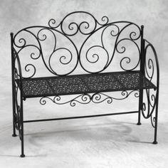 black patio benches   Antiqued Black Metal Garden Bench