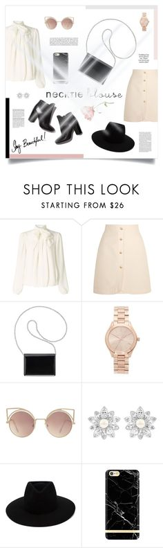 """""""No. 44: Fall Trend: Necktie Blouse"""" by alicepippawilliams ❤ liked on Polyvore featuring Somerset by Alice Temperley, Gucci, Pierre Hardy, Nine West, Michael Kors, MANGO, Swarovski, rag & bone, Richmond & Finch and contestentry"""