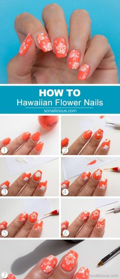 Hawaiian flower nail art tutorial nails hawaiian nail art, n Hawaiian Nail Art, Hawaiian Flower Nails, Tropical Flower Nails, Hawaiian Makeup, Nail Art Simple, Trendy Nail Art, Cool Nail Art, Flower Nail Designs, Nail Art Designs