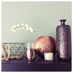 Flexa early dew wall with Black and copper accessories Copper Accessories, Flow Design, Wall Colours, Woman Cave, Makeup Storage, Colour Schemes, My Happy Place, Sweet Dreams, Candle Holders