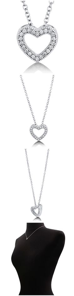 Sterling Silver CZ Heart Fashion Necklace