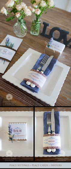A french country theme - wedding reception place setting.