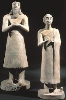 Statues from the temple at Eshunna, c. 2,700 BCE