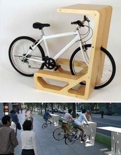 MUU Bike Table~  What if people could simply use their bicycles for seating? The clever PIT IN by Store MUU functions as both a bike stand and a table, so that users can simply ride right into place for a coffee break or to quick emails. Made of plywood for interior use and plastic for exterior use, the PIT IN could be ideal for street-side cafes in cities with heavy bicycle use.