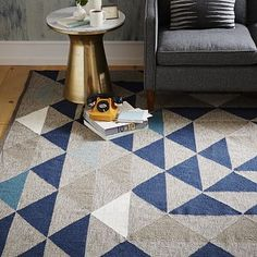love the colors for your space - Framed Triangles Wool Kilim Rug #westelm