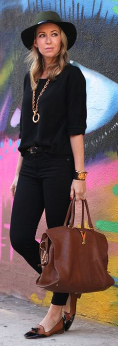 Daily New Fashion : EASY WEEKENDS - The High Waist Stiletto Black Jeans with Black Sweater by Brooklyn Blonde