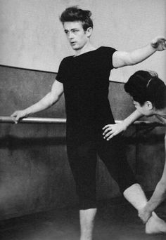 James Dean taking ballet lessons, New YorK 1955 #women #fashion #clothes #heels #dresses #shoes #makeup #nails