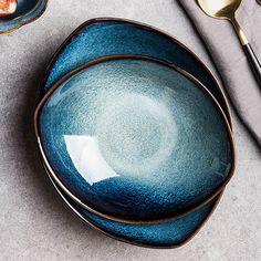 Deep Blue Tableware from Apollo Box Porcelain Dinnerware, Ceramic Tableware, Ceramic Bowls, Kitchenware, Cerámica Ideas, Apollo Box, Soup Bowl Set, Glazed Ceramic, Blue Eyes