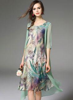 Irregular Silk Floral Print Midi Dress