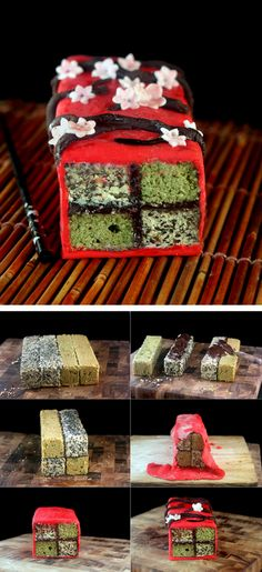Japanese-inspired Battenberg cake A Japanese variant of a very British cake! Fancy Desserts, No Bake Desserts, Baking Desserts, Marzipan, Cupcake Recipes, Cupcake Cakes, Mayonaise Cake, British Cake, Matcha